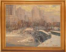 American School signed W. Lebot, oil on canvas, NYC