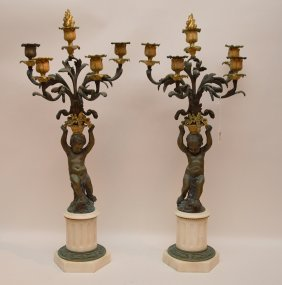 Pair Figural Gilt & Patinated Bronze 5 Light Candelabra