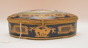"Sevres Porcelain Hand Painted Box. Ht. 3 1/4"" W. 9"