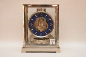 "Chrome Lecoultre Atmos Clock. Ht. 8 3/4"" W. 7"" D. 5"
