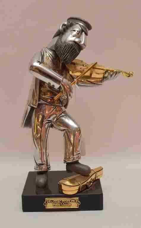 "Frank Meisler Sculpture ""Hasidic Fiddler""  Ht. 12 1/2"""