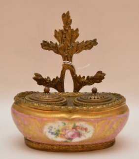 """French Bronze & Porcelain Inkwell. Ht. 6 1/2"""""""