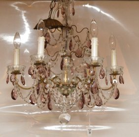 "French Brass & Glass Chandelier. Ht. 24"" Dia. 20"""