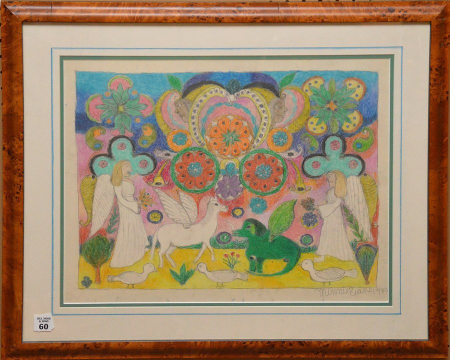 Minnie Evans (AMERICAN, 1892-1987) crayon and graphite