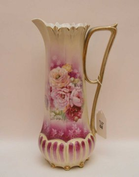 Belleek Willets Painted Pitcher Sold W/ R.s. Prussia