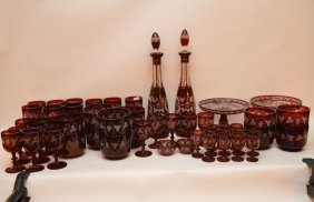 Bohemian Ruby Red Glassware With Etched Grape Leaf