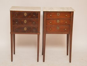 Pair Mahogany 3 Drawer 19th C. Stands Each With Marble