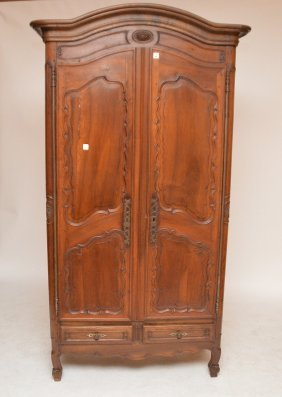 18th C. French Walnut Diminutive Armoire 2 Carved Doors