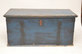 "Scandinavian Painted 19th C. Blanket Chest, 23""h X 50"