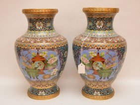 Pair Cloisonné Vases Each With A Still Life Scene