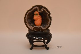 Carved Chinese Coral Figure Mounted In A Geode And On A
