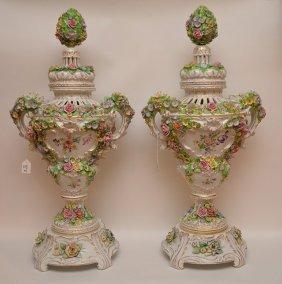 Pair Dresden Sitzendorf Porcelain Urns & Covers. Each