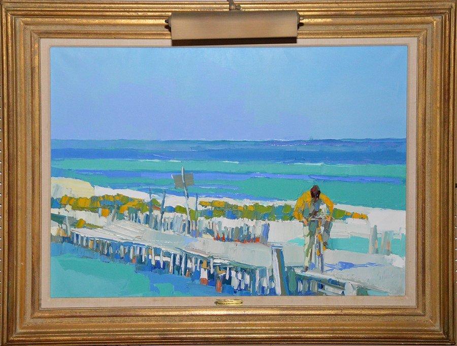 "Nicola Simbari (Italian 1927-2012) ""Bridge"" oil on"