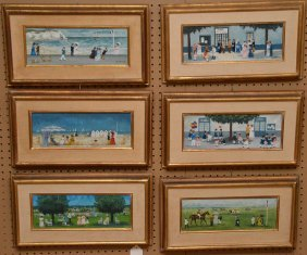 Andre Renoux (french B. 1939) Set Of Six Paintings, Oil