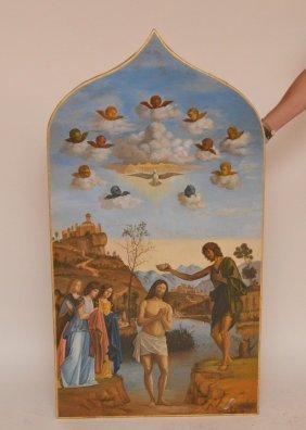 Antique Venetian Icon, Baptism Of Christ In The Jordan