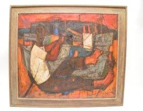 Angel Chavez (peruvian, 1929-1995) Oil On Canvas,