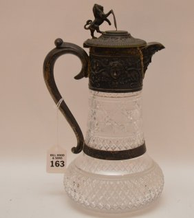 Cut Glass Carafe With English Silver Collar And Handle,