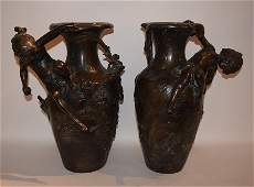 Pair Bronze Art Nouveau From Figural Vases  Ht 17