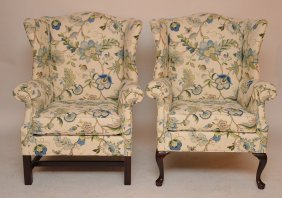 Pair Queen Anne Style Wing Back Chairs With Crewel Type