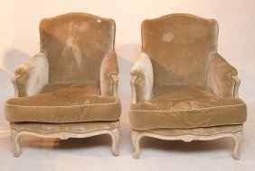 Pair Taupe Color French Bergeres With White Washed