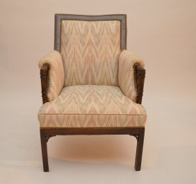 Upholstered Arm Chair, Pastel Colors, Bamboo Motif Arms