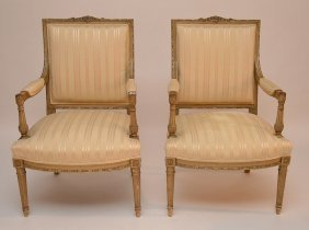 Pair Louis Xvi Painted Frame Fauteuils With Neutral