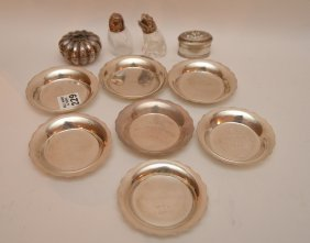 2 Sterling Miniature Lidded Boxes And 7 Small Dishes