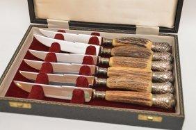 6 Ornate Silver Tipped Horn Steak Knives In Original