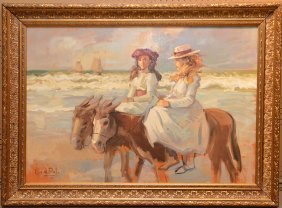 Louis Van Der Pol (dutch, 1896-1982) Donkey Ride, Oil
