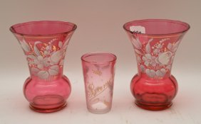 Pair Enamel Floral Design On Cranberry Glass Vases, 4
