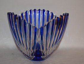 "Blue Cut To Clear Hoya Crystal Bowl. Ht. 9 1/2"" Dia."