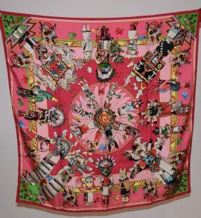 "Hermes Native American Kachinas"" Silk Scarf"
