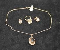 3pc. Set, 14kt gold, smoky topaz, necklace with