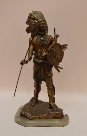 Bronze Indian Sculpture Mounted On An Onyx Base. Ht.