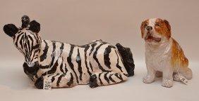 "Italian Painted Terra Cotta Zebra Ht. 9 1/2"" W. 16"" D."