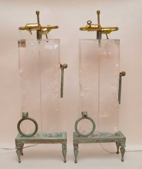 Pair Bronze & Lucite Lamps. Ht. 30""