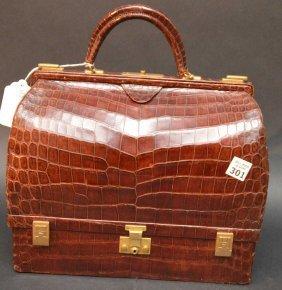 Hermes Doctor Form Bag, Brown Alligator/crocodile,