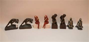 4 pairs of unsigned bronze figural bookends incl pair