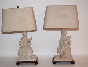 Pair Plaster Oriental Figural Lamps