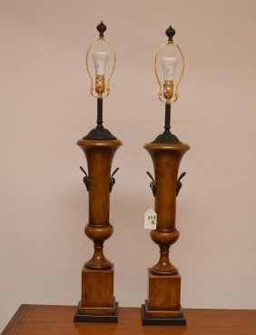 Pair Of Classical Form Wood Lamps With Metal Fittings,