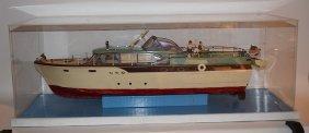 """chris Craft"" Yacht Model, 32""l, Case 36""l, Plastic And"