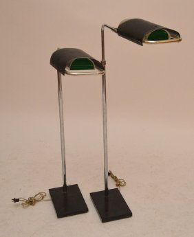 Pair Adjustable Modern Chrome & Black Metal Floor Lamps