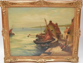George White Oil On Canvas Dated 1899, Dutch Seascape /