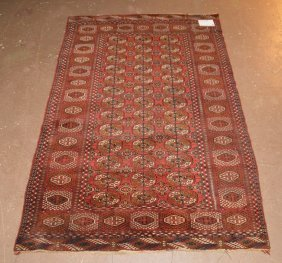 Bokhara Carpet, 3 Row Border, Red Field, Navy And