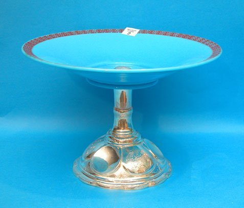 1002: 19th cent. Continental silver & opaline glass des