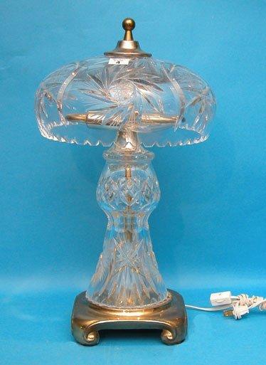 "1004: Cut crystal 2 piece lamp, globe 11""diam x 7""h, ba"