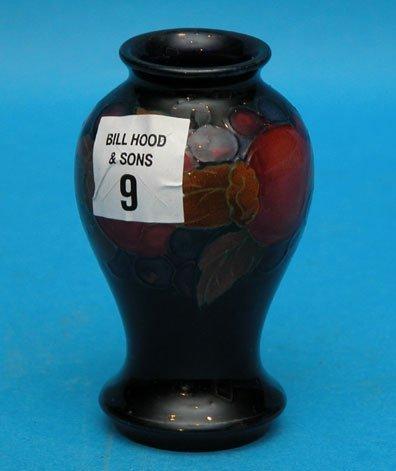 "1009: Small Moorcroft mini vase, 3 3/4""h x 1 3/8""diam,"