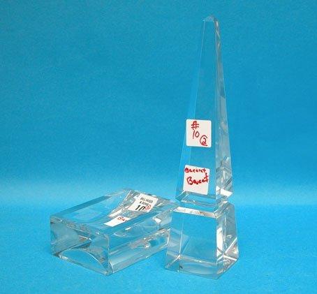 "1010: Baccarat obelisk, 9 1/2""h x 2 1/4""w & Baccarat re"
