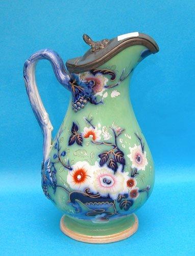 1012: English ironstone pitcher ,wonderful greens and b