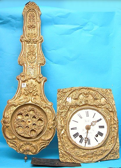 """1013: French Mobe' clock, non-working, 37""""l,"""